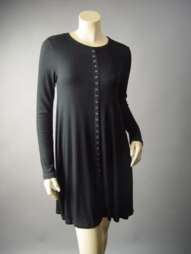 Basic Black Ribbed Knit Goth 90s Grunge Punk Flared T Shirt 296 mvp Dress S M L