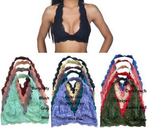 5ebae1bf564da7 Halter Lace Bralette Scallop Edge Floral Bra V Neck Soft Stretchy w ...