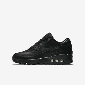Detalles de Zapatos Nike Air Max 90 Leather 833412 001 Moda Niño Total Black