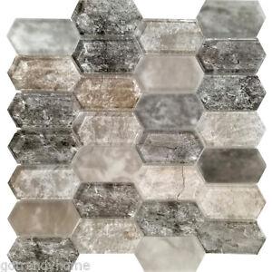 Details About Black Brown Grey Pattern Gl Mosaic Tile Kitchen Shower Wall Backsplash