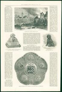 1874-Antique-Print-NORFOLK-Blickling-Hall-Fire-Bouverie-Testimonial-110