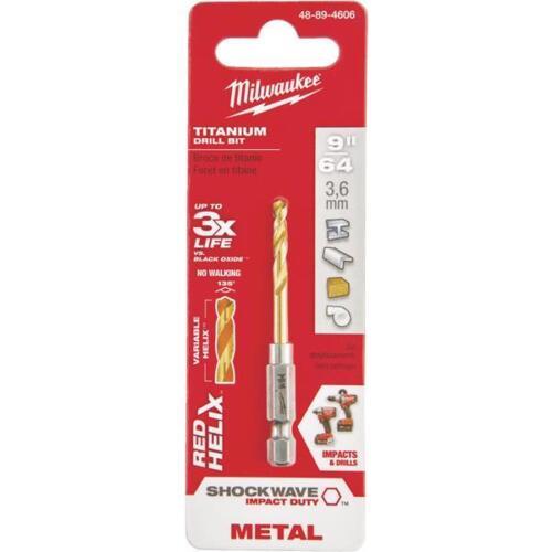 Hex Shank Drill Bit Titanium 2-23//32 In Lot of 5 Milwaukee 9//64 In