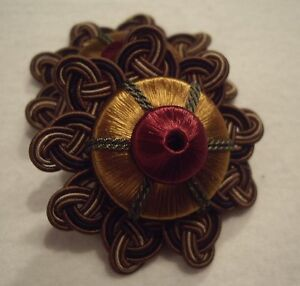 "HOULES CHOCOLATE COPPER FOREST ROSSO ""ANTICA"" FRENCH PASSEMENTERIE ROSETTE TRIM!"