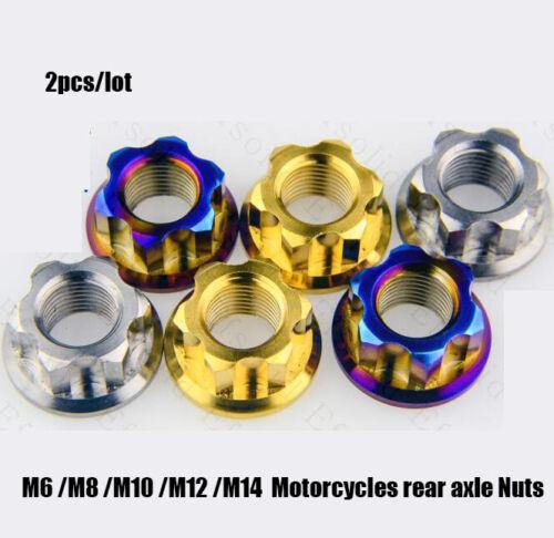 2x Titanium alloy Motorcycle Rear Axle Nut Motor Nuts M8 M10 M12 M14