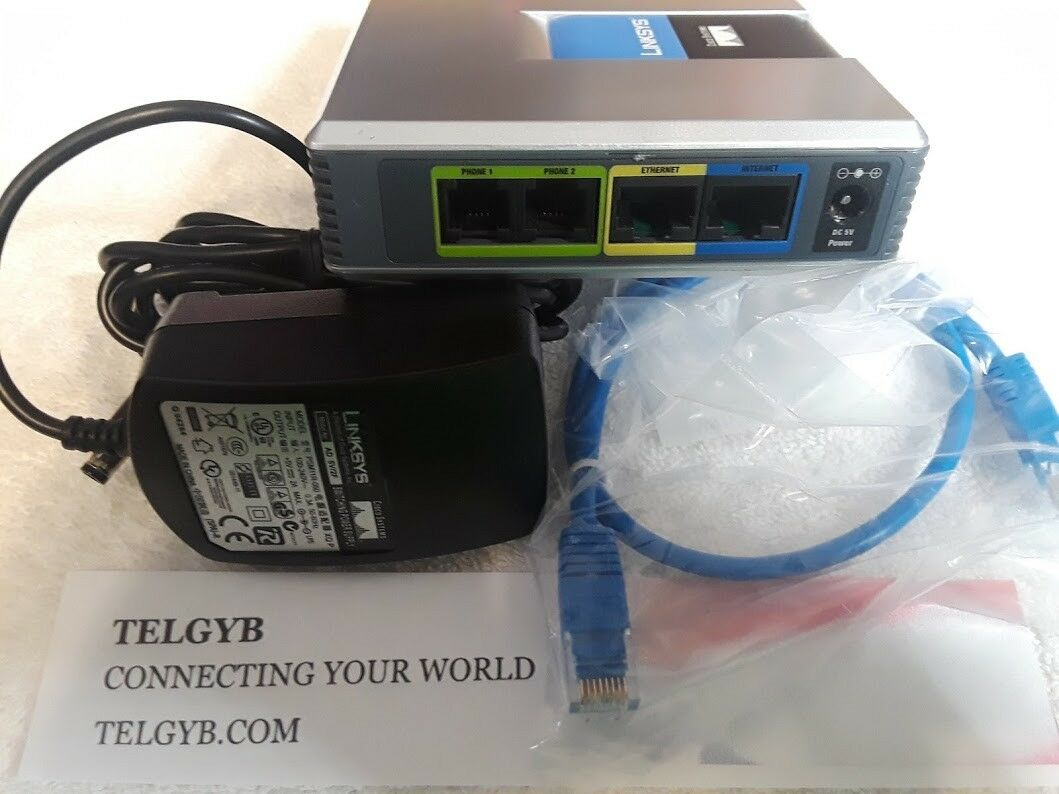 Cisco Systems Linksys VoIP Phone Adapter with Router SPA2102 W//power adapter