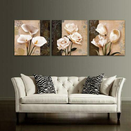 Vintage Flower Lily Rose 3 Piece Canvas Wall Art Picture Painting Home Decor