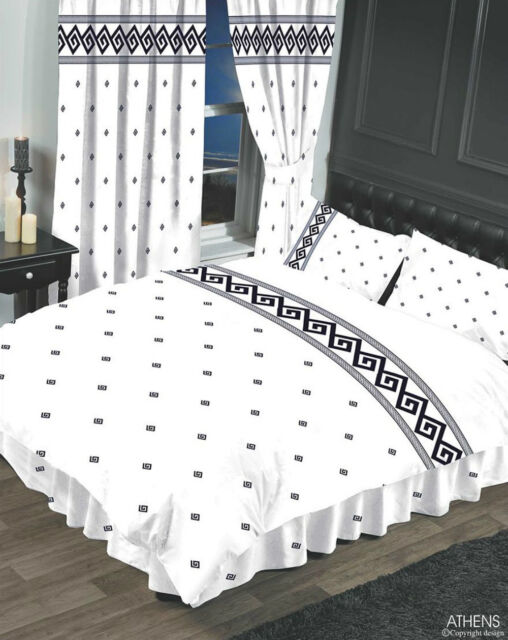 Single Bed Duvet Cover Set Athens Greek Key White Black Border Rope Effect