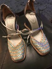 NINE WEST SIZE 5 WEDGE SHOES  WITH TIES AT ANKLE BLUE WITH SEQUINS