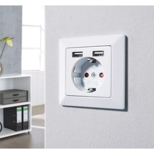 Prise de Courant prise murale sécurité enfant 2 USB Ports Réservoir ladeanschluss
