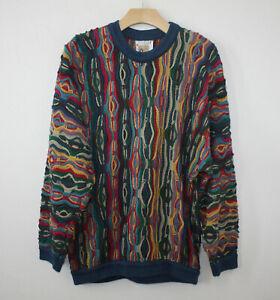 COOGI-Australia-Baumwolle-Mehrfarbige-Texturiert-Strick-Vintage-Biggie-Bill-Cosby-Style-Med