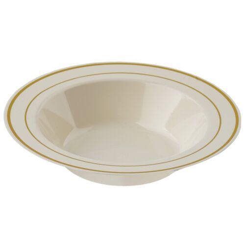 10//pk  Ivory w// Gold 12oz Round Disposable Plastic Bowl   wedding//catering