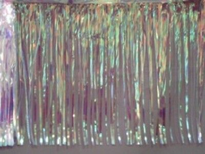 """Metallic clear iridescent Fringed table skirt Party decor  29/"""" x 14 ft"""