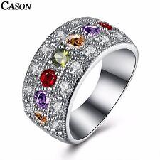 Fashion Three Rows Cubic Zirconia Ring 18K White Gold Plated Rhinestone Jewelry