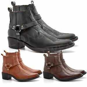 e84b951e2b4 Details about New Mens Western Cowboy Ankle Boots Cuban Heel Slip On  Harness Biker Shoes 7-12