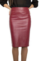 Casual Lined Pencil Bodycon Faux Leather Bordeaux Skirt 8 10 12 14 16 18 20 22