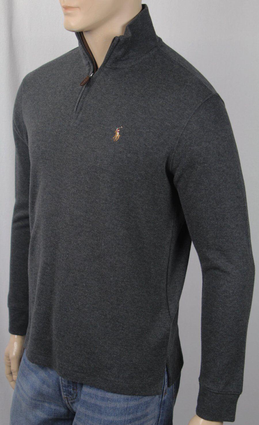 Polo Ralph Lauren Dark Grey Estate Rib Half Zip Sweater Multi color Pony NWT