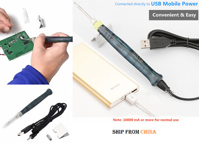 USB Electric Soldering Iron Pen Mini Welding with Stand Tool 5V DC// 8W
