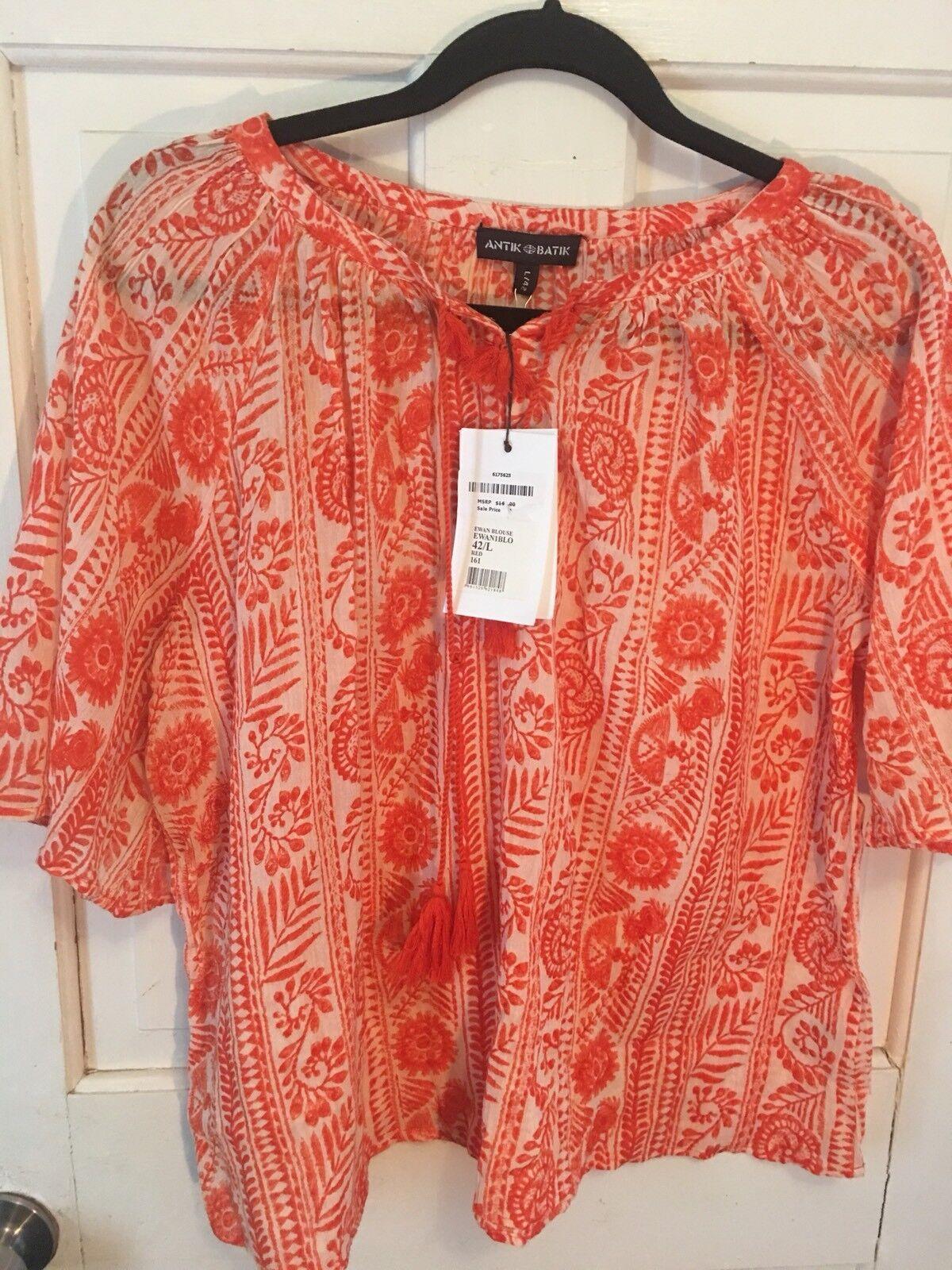 57. Anthropologie Antik Batik Orange rot Tassel Ethnique Tunique L