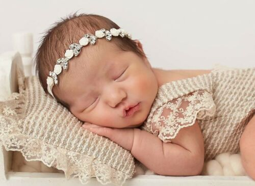 White Roses Blink Rhinestone Baby Newborn Hair Band Baptism Wedding Christening