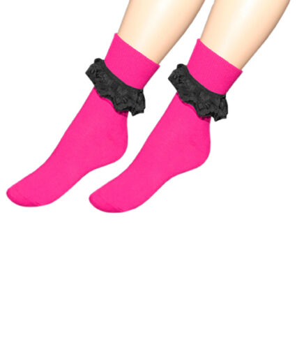 Ladies Girls Lace Socks 50/'s Vintage Socks Frilly Lace Dance School Ankle Socks