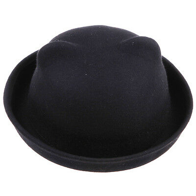 Vintage Women Lady Wool Sexy Cat Ears Soft Hat Bowler Derby Horn Cap Devil Hats