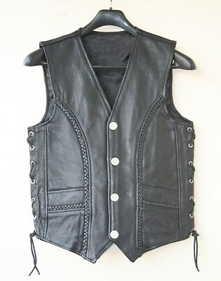 mens leather motorcycle biker riding braided vest new all sizes
