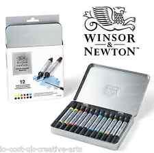 WINSOR & NEWTON 12 ARTIST WATER COLOUR PAINT MARKER TWIN-TIP PEN TIN SET