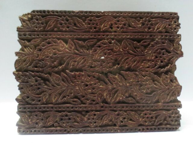 ANTIQUE WOODEN HAND CARVED TEXTILE PRINTING FABRIC BLOCK STAMP FINE FLORAL