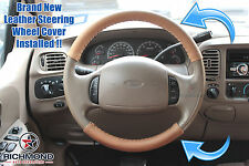 03-07 Ford F350 4X4 Diesel KING RANCH-Leather Steering Wheel Cover 2-Piece Wrap