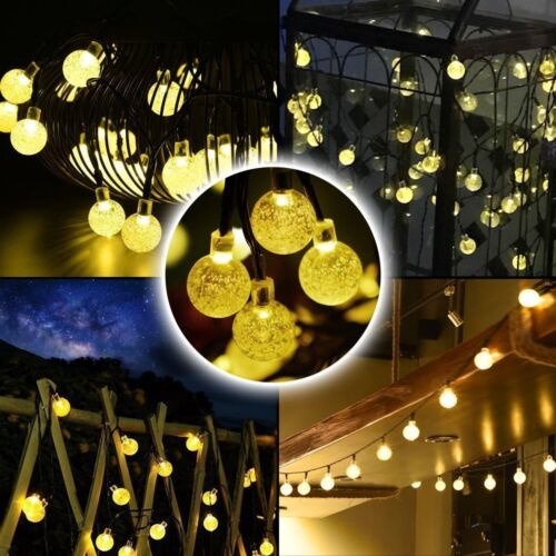 LED Solar String Lights 30 LEDs Crystal Ball Globe Fairy Starry Lamp Garden Bulb