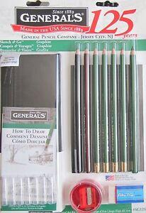 General-039-s-sketch-amp-Go-Graphite-dessin-de-voyage-art-kit-crayons-gomme-sharpener