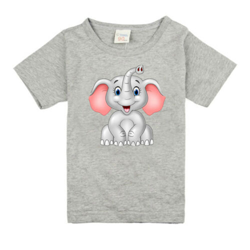 Baby T-Shirt in Elephant for Boys Girls in Height from 85 cm to 135 cm in Gray