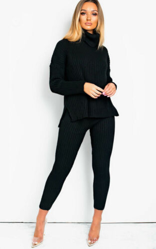Ladies Women Chunky Knitted High Roll Neck Top Bottom Lounge Wear Tracksuit Set