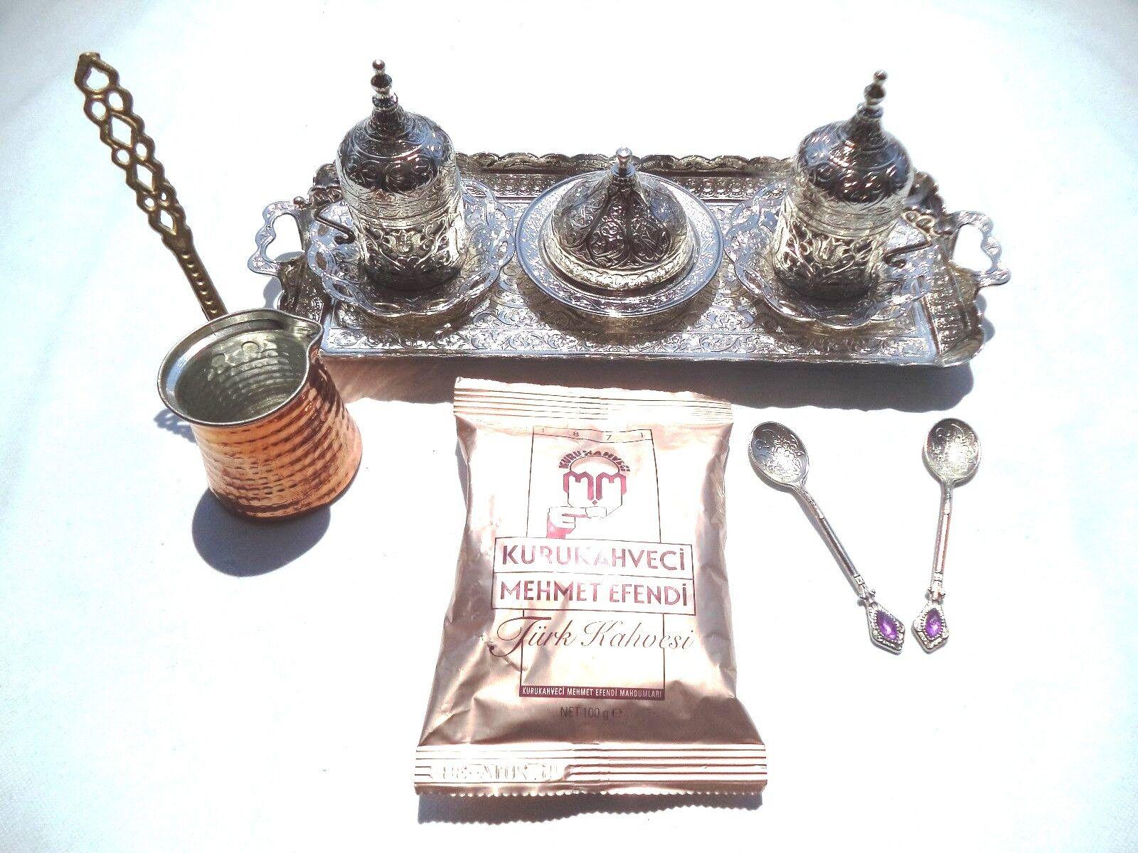 Handmade Turkish Coffee Espresso Set avec cafetière + café turc et 2 cuillères