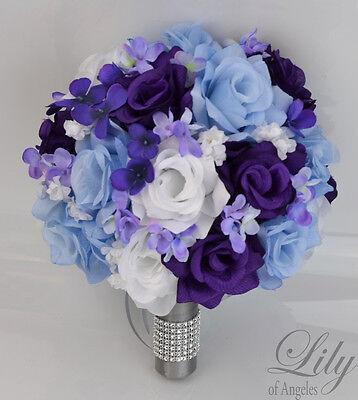 17 Piece Package Silk Flower Wedding Bridal Bouquets Corsages Purple Blue White Ebay