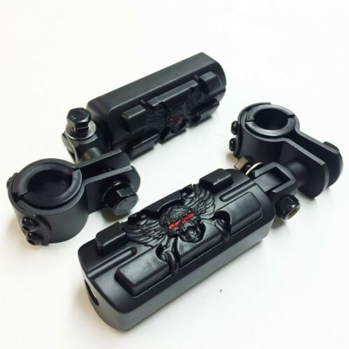 """Zombie 1/"""" 1.25/"""" Foot Peg Clamps For Honda GoldWing GL1800 1500 1100 1200 Black"""