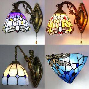 Image Is Loading Aroma Tiffany Style Dragonfly Stained Gl Wall Sconce