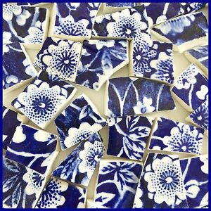 "65 BROKEN CHINA MOSAIC TILES~ 1/2"" Cobalt BLUE & WHITE Floral CALICO Chintz"