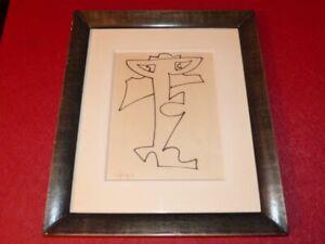 [ART XXe] CHARLES LAPICQUE  (1898-1988) DESSIN ORIGINAL ENCRE Ca 1950 Encadré