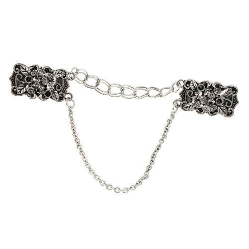 Frauen Vintage Sweater Schal Clips Cardigan Kragen Blume Metall Clip Halter