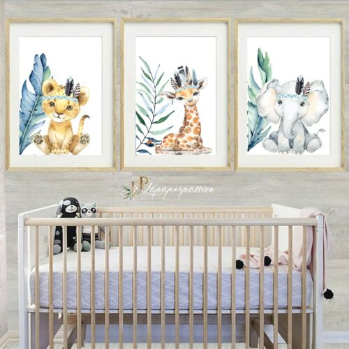 nursery wall prints,Boys nursery prints Safari tropical Nursery Wall Prints