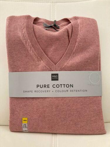 """BNWT m/&s Gents homme /""""Mauve/"""" rose pâle en pur coton col V Pull S /& 3XL"""