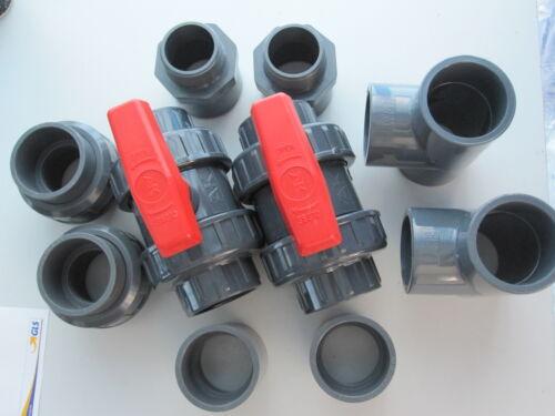 Fittings Set 50 PVC T-Stück Verschraubung 10 teil PVC Kugelhahn,PVC Muffe