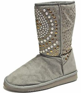 New-women-039-s-shoes-mid-shaft-boot-faux-fur-lining-suede-like-winter-studs-Gray