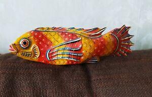 Carpe KOI en bois, peinte, objet de décoration