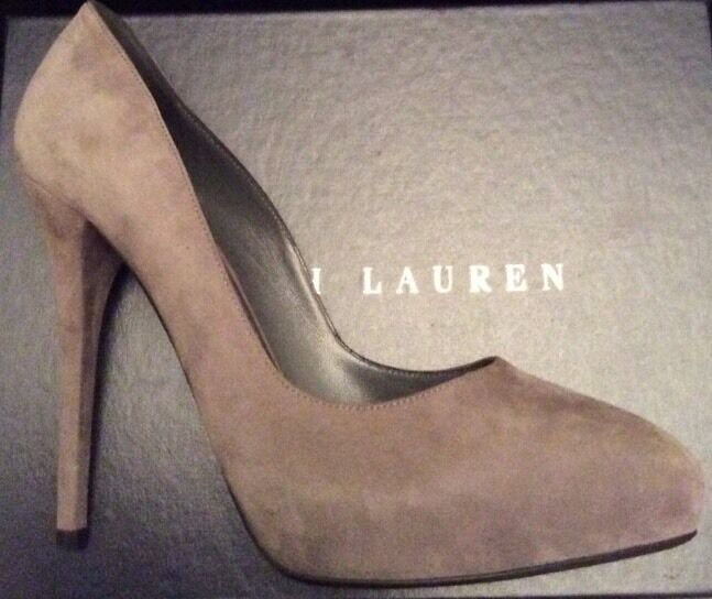 RALPH LAUREN COLLECTION WOMENS BENITA COURT SHOES. GREY SUEDE UK 7-7.5
