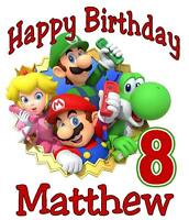 Mario & Friends Birthday T-shirt Personalized Any Name/age Toddler To Adult