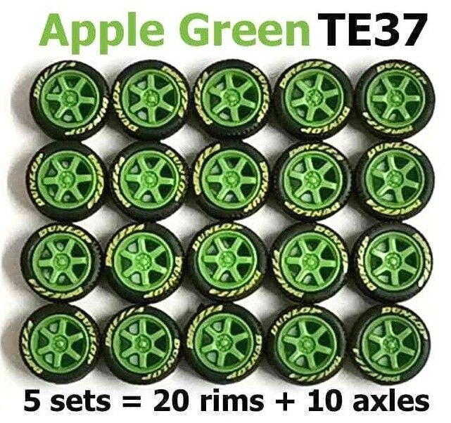 1 64 reifen te37 apfelgr  n diecast fit hot wheels ein diecast n modell autos - 5 legt f9d588