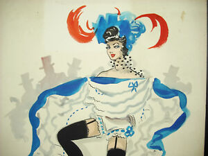 Alice-Huertas-Xx-Aquarell-Unterzeichnet-Muehle-Rot-French-Cancan-Paris-France