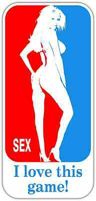 "Sex I love this Game Funny Car Bumper Window Tool Box Sticker Decal 3""X6"""